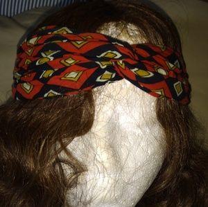 Red and black tribal printed headband
